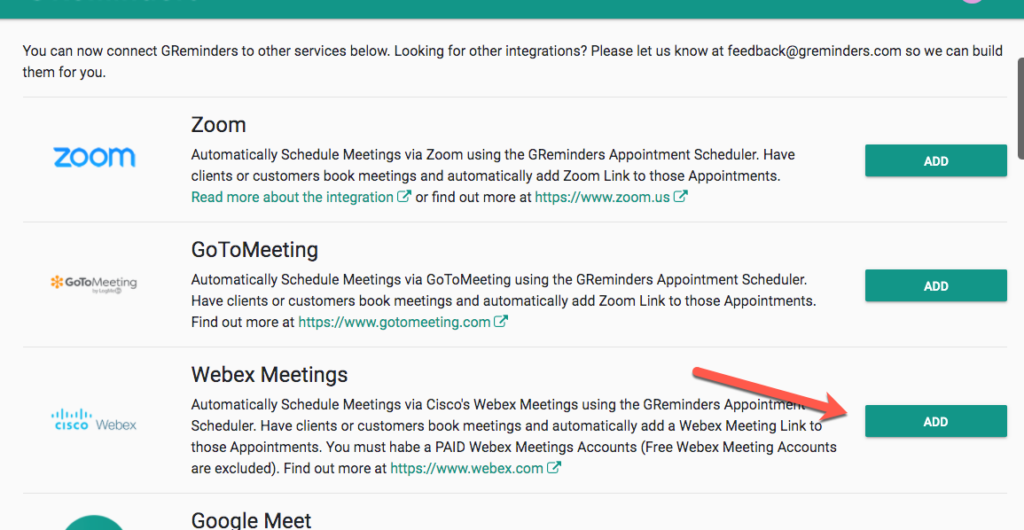 webex appointment reminders connect service