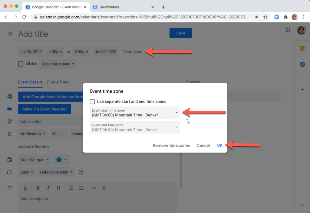 Booking Google Calendar Event using Client TImezone