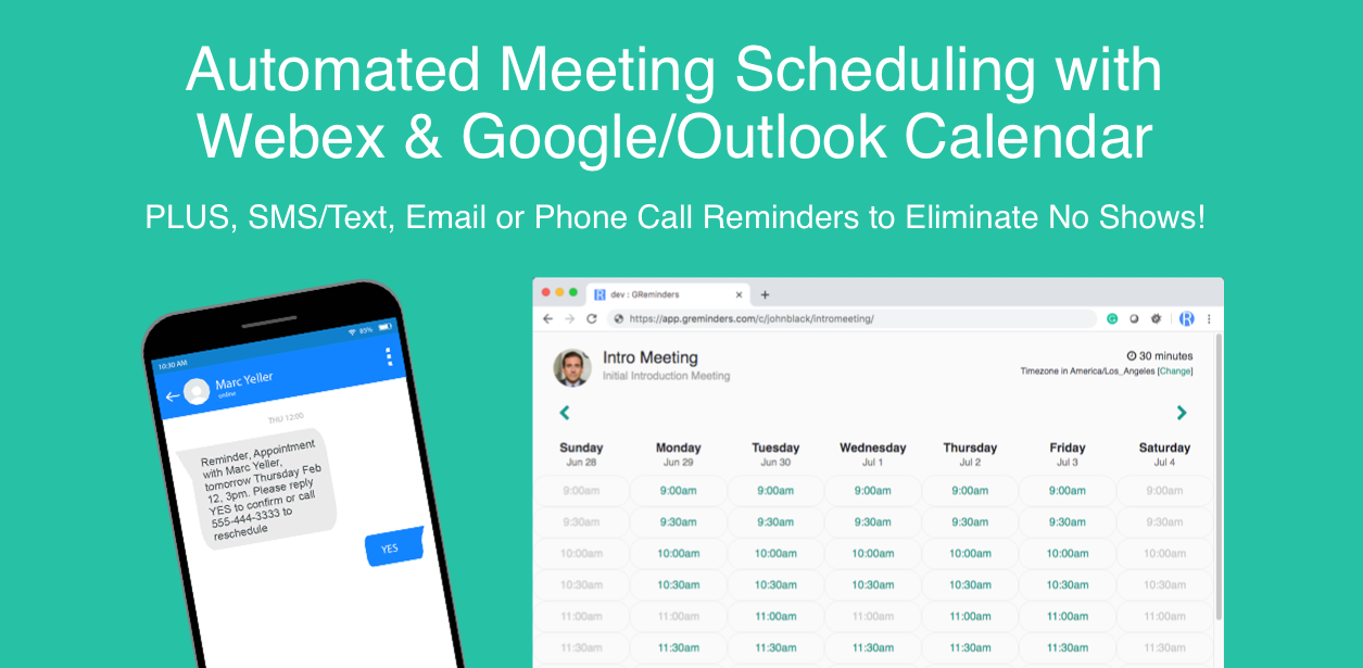 Automated Meeting Scheduling with Webex Google Calendar or Outlook