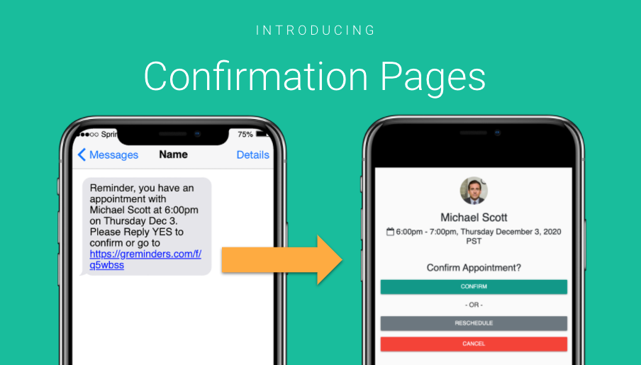 SMS / Text Reminder Confirmation Pages