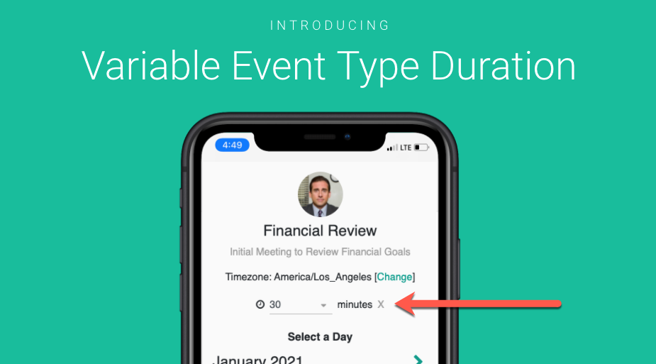 Allow your customers to select the event duration