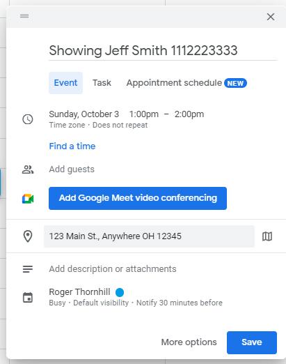Google Calendar Entry